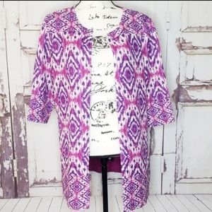 NWT Chico's Blazer open front Purple Pink Petite 1